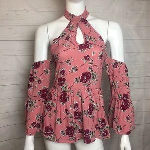 Top Halter Pink Floral Stretch Cold Shoulder SMALL